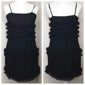 English Factory Large Black Ruffle Accent Dress